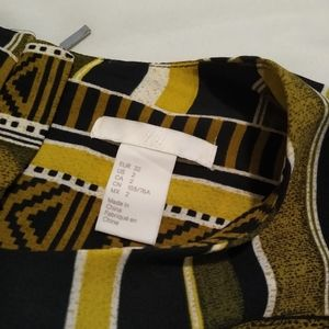 H&M Tops - Size 2 H&M black and yellow-green pattern top